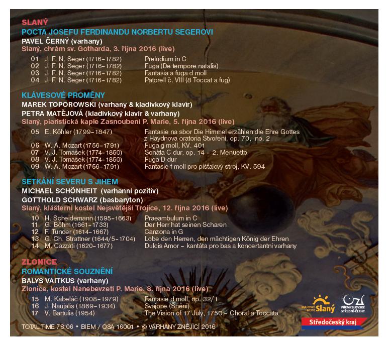 Zadní strana CD Varhany znějící 2016 Slaný–Zlonice